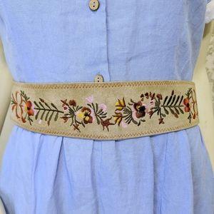 Leather embroidered Floral Tie Back Obi Belt Suede